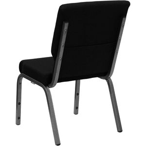 HERCULES™ 18.5''W Black Stacking Church Chair - Silver Vein Frame Finish by Flash Furniture