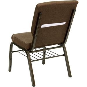 HERCULES™ 18.5''W Brown Fabric Church Chair with 4.25'' Thick Seat, Book Basket - Gold Vein Frame Finish by Flash Furniture