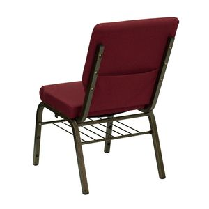 HERCULES™ 18.5''W Burgundy Church Chair with 4.25'' Thick Seat, Book Basket - Gold Vein Frame by Flash Furniture