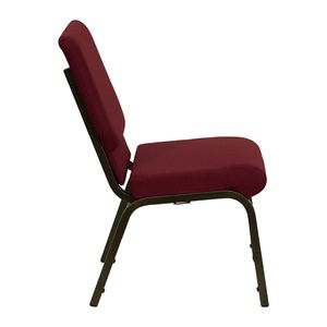 HERCULES™ 18.5''W Burgundy Stacking Church Chair with 4.25'' Thick Seat - Gold Vein Frame Finish by Flash Furniture