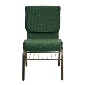 HERCULES™ 18.5''W Green Patterned Church Chair with 4.25'' Thick Seat, Book Basket - Gold Vein Frame by Flash Furniture