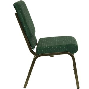 HERCULES™ 18.5''W Green Patterned Stacking Church Chair with 4.25'' Thick Seat - Gold Vein Frame by Flash Furniture