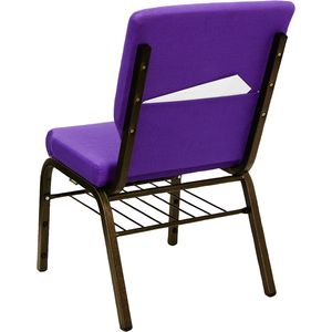 HERCULES™ 18.5''W Purple Church Chair with 4.25'' Thick Seat, Book Basket - Gold Vein Frame by Flash Furniture