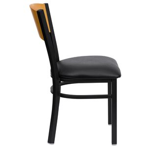HERCULES™ Black Circle Back Metal Restaurant Chair - Natural Wood Back, Black Vinyl Seat by Flash Furniture