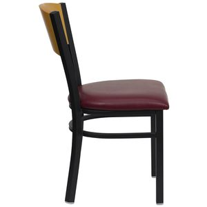 HERCULES™ Black Circle Back Metal Restaurant Chair - Natural Wood Back, Burgundy Vinyl Seat by Flash Furniture