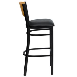 HERCULES™ Black Circle Back Metal Restaurant Bar Stool - Natural Wood Back, Black Vinyl Seat by Flash Furniture