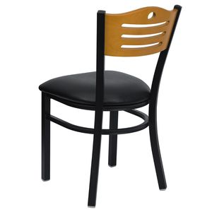 HERCULES™ Black Slat Back Metal Restaurant Chair - Natural Wood Back, Black Vinyl Seat by Flash Furniture