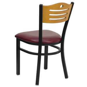 HERCULES™ Black Slat Back Metal Restaurant Chair - Natural Wood Back, Burgundy Vinyl Seat by Flash Furniture