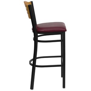 HERCULES™ Black Slat Back Metal Restaurant Bar Stool - Natural Wood Back, Burgundy Vinyl Seat by Flash Furniture