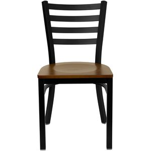 HERCULES™ Black Ladder Back Metal Restaurant Chair - Cherry Wood Seat by Flash Furniture