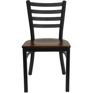 HERCULES™ Black Ladder Back Metal Restaurant Chair - Mahagony Wood Seat by Flash Furniture