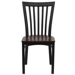 HERCULES™ Black Schoolhouse Back Metal Restaurant Chair - Mahogany Wood Seat by Flash Furniture