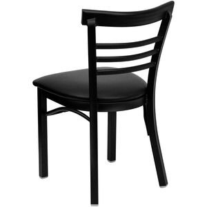HERCULES™ Black Ladder Back Metal Restaurant Chair - Black Vinyl Seat by Flash Furniture