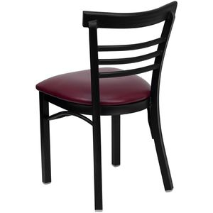 HERCULES™ Black Ladder Back Metal Restaurant Chair - Burgundy Vinyl Seat by Flash Furniture