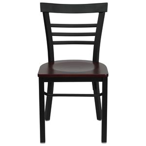 HERCULES™ Black Ladder Back Metal Restaurant Chair - Mahogany Wood Seat by Flash Furniture