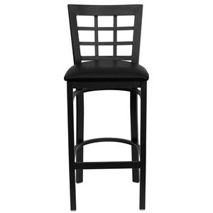HERCULES™ Black Window Back Metal Restaurant Bar Stool - Black Vinyl Seat by Flash Furniture