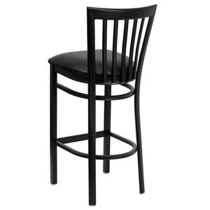 HERCULES™ Black School House Back Metal Restaurant Bar Stool - Black Vinyl Seat by Flash Furniture
