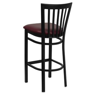 HERCULES™ Black School House Back Metal Restaurant Bar Stool - Burgundy Vinyl Seat by Flash Furniture
