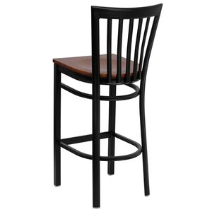 HERCULES™ Black School House Back Metal Restaurant Bar Stool - Cherry Wood Seat by Flash Furniture