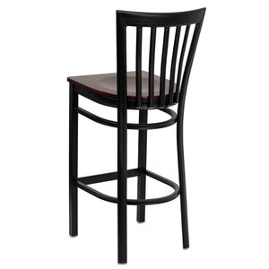 HERCULES™ Black School House Back Metal Restaurant Bar Stool - Mahogany Wood Seat by Flash Furniture