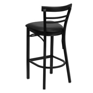HERCULES™ Black Ladder Back Metal Restaurant Bar Stool - Black Vinyl Seat by Flash Furniture