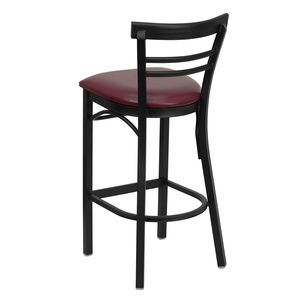 HERCULES™ Black Ladder Back Metal Restaurant Bar Stool - Burgundy Vinyl Seat by Flash Furniture