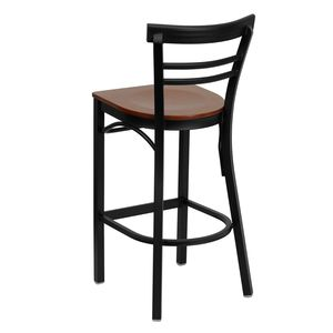 HERCULES™ Black Ladder Back Metal Restaurant Bar Stool - Cherry Wood Seat by Flash Furniture