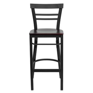 HERCULES™ Black Ladder Back Metal Restaurant Bar Stool - Mahogany Wood Seat by Flash Furniture
