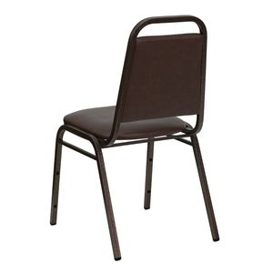 HERCULES™ Series Stack Chair with Trapezoidal Back and a 1.5'' Padded Foam Seat - Brown Vinyl with Copper Vein Frame by Flash Furniture