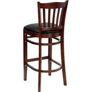 HERCULES™ Mahogany Finished Vertical Slat Back Wooden Restaurant Bar Stool - Black Vinyl Seat by Flash Furniture
