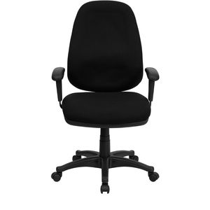 High Back Black Fabric Ergonomic Computer Chair with Height Adjustable Arms by Flash Furniture