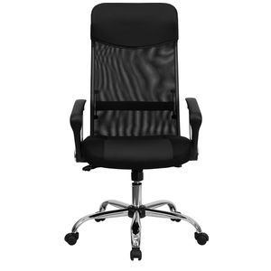 High Back Black Split Leather Chair with Mesh Back by Flash Furniture
