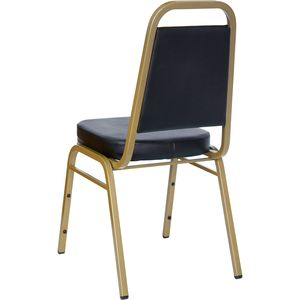 HERCULES™ Series Black Vinyl Banquet Stack Chair with Gold Frame by Flash Furniture