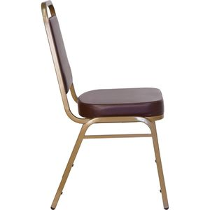 HERCULES™ Series Brown Vinyl Banquet Stack Chair with Gold Frame by Flash Furniture