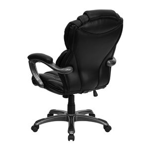 High Back Black Leather Executive Office Chair with Leather Padded Loop Arms by Flash Furniture