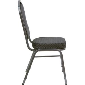 HERCULES™ Series Crown Back Banquet Stack Chair with Silver Vein Frame and Black Patterned Fabric by Flash Furniture