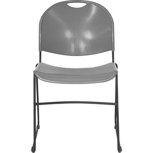 HERCULES™ Gray High Density, Ultra Compact Stack Chair with Black Frame by Flash Furniture