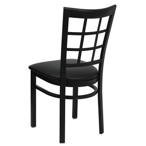 HERCULES™ Black Window Back Metal Restaurant Chair - Black Vinyl Seat by Flash Furniture