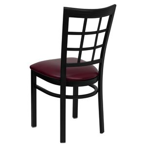 HERCULES™ Black Window Back Metal Restaurant Chair - Burgundy Vinyl Seat by Flash Furniture