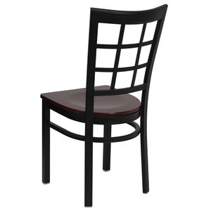 HERCULES™ Black Window Back Metal Restaurant Chair - Mahogany Wood Seat by Flash Furniture