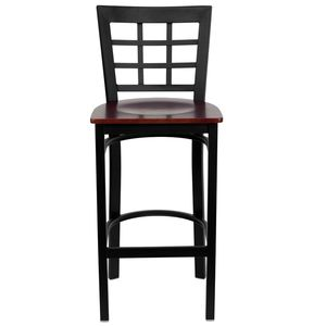 HERCULES™ Black Window Back Metal Restaurant Bar Stool - Mahogany Wood Seat by Flash Furniture