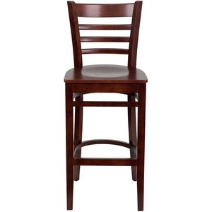 HERCULES™ Mahogany Finished Ladder Back Wooden Restaurant Bar Stool by Flash Furniture