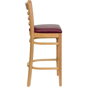 HERCULES™ Natural Wood Finished Ladder Back Wooden Restaurant Bar Stool - Burgundy Vinyl Seat by Flash Furniture