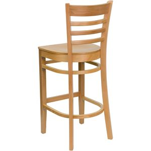 HERCULES™ Natural Wood Finished Ladder Back Wooden Restaurant Bar Stool by Flash Furniture
