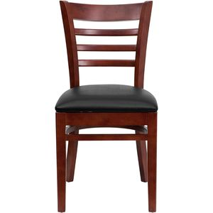 HERCULES™ Mahogany Finished Ladder Back Wooden Restaurant Chair - Black Vinyl Seat by Flash Furniture