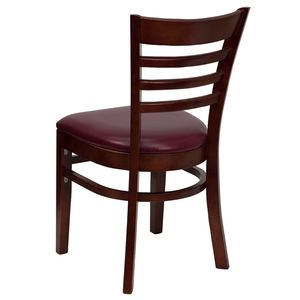 HERCULES™ Mahogany Finished Ladder Back Wooden Restaurant Chair - Burgundy Vinyl Seat by Flash Furniture