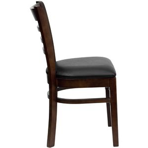 HERCULES™ Walnut Finished Ladder Back Wooden Restaurant Chair - Black Vinyl Seat by Flash Furniture
