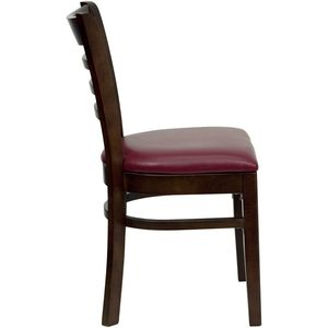 HERCULES™ Walnut Finished Ladder Back Wooden Restaurant Chair - Burgundy Vinyl Seat by Flash Furniture