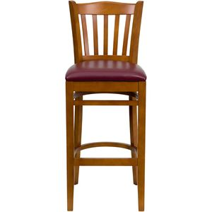 HERCULES™ Cherry Finished Vertical Slat Back Wooden Restaurant Bar Stool - Burgundy Vinyl Seat by Flash Furniture