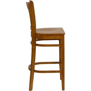 HERCULES™ Cherry Finished Vertical Slat Back Wooden Restaurant Bar Stool by Flash Furniture